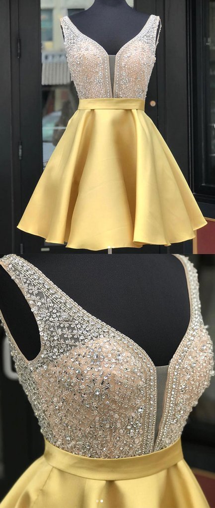 Yellow v neck sequin short prom dress, yellow homecoming dress