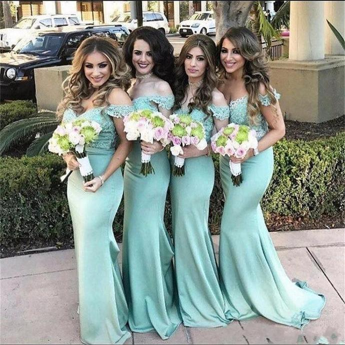 Mermaid Off Shoulder Sleeves Bridesmaid Dress,Mint Prom Dresses