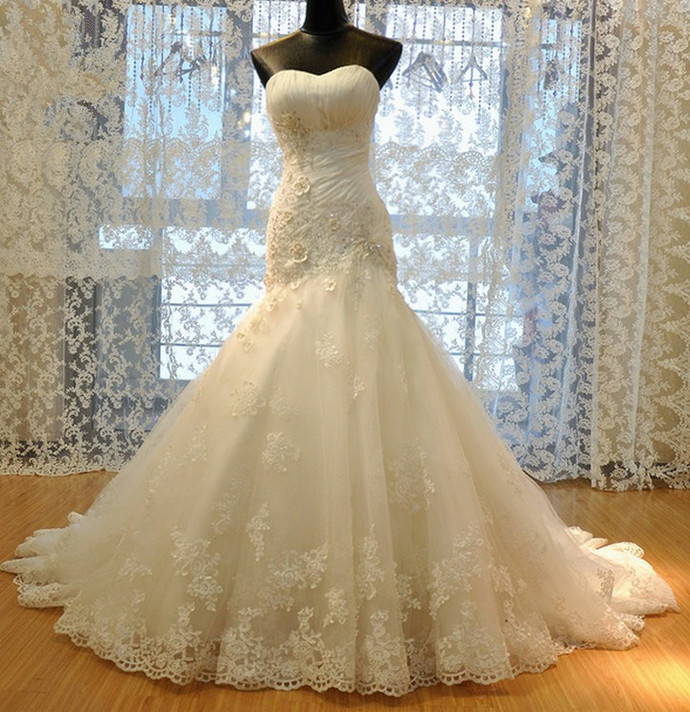 Mermaid Tulle Ivory Bridal Dresses Sweetheart Neck Lace Appliques Women Bridal