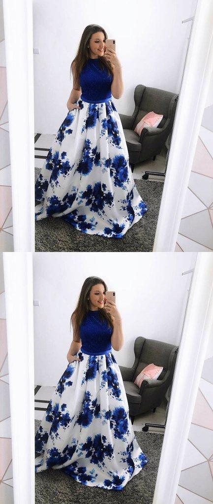Blue satin long prom dress, blue evening dress, blue formal dress