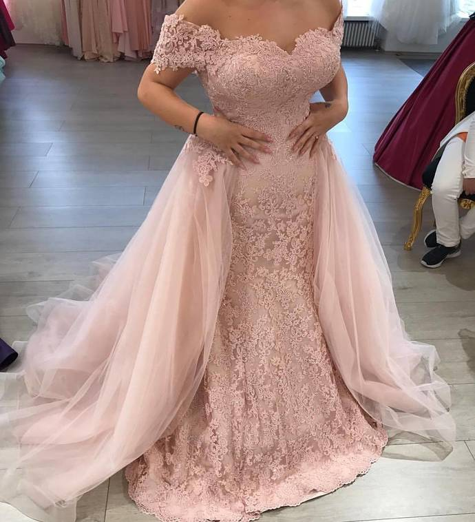 Mermaid Wedding Dress Pink Bridal Dresses,Off the Shoulder Lace Appliqued Bridal