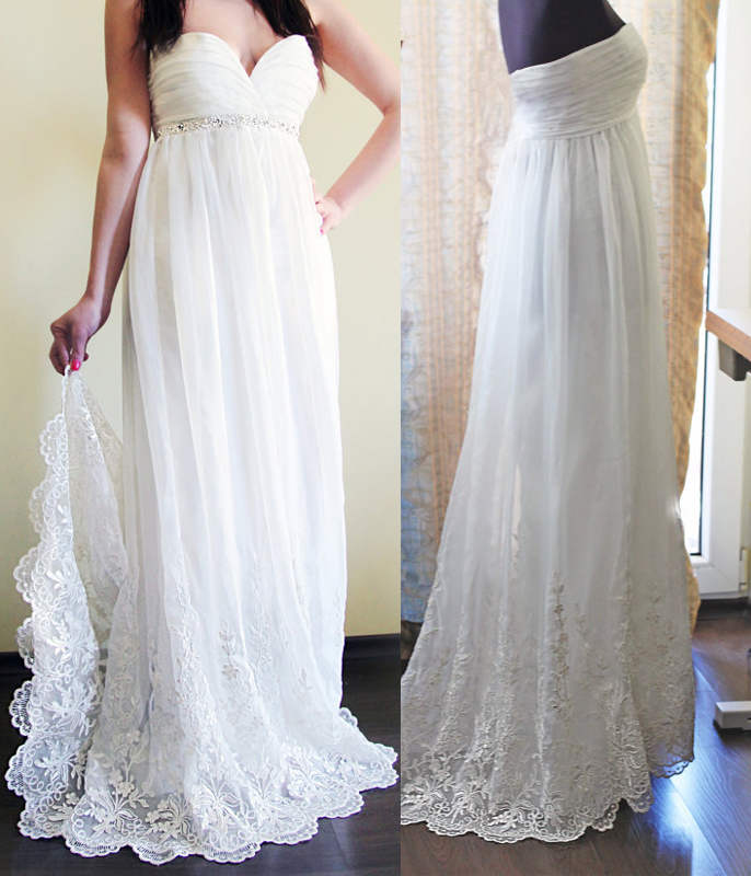 Gorgeous Empire Wedding Dresses,Lace Edged Chiffon Wedding Dresses,Beach Wedding