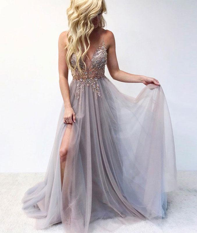 9ab263aee0 Gray v neck tulle lace long prom dress