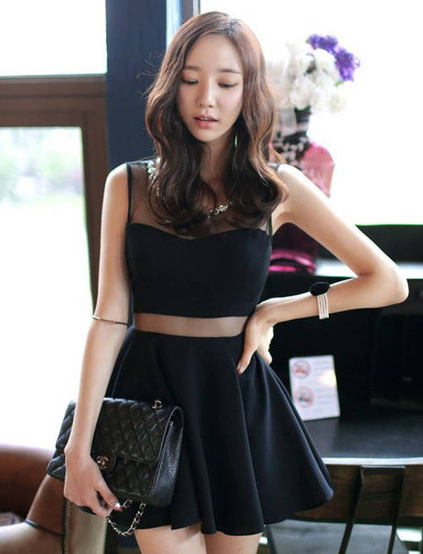 Pretty Sexy Short Little Black Dress With Mesh Insert Prom Dresses