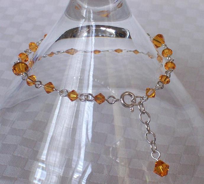 Topaz Swarovski Crystal - Silver Plated Bracelet