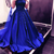 Royal Blue Ball Gowns,Satin Prom Gowns ,Lace Appliques Prom Dresses,Royal Blue