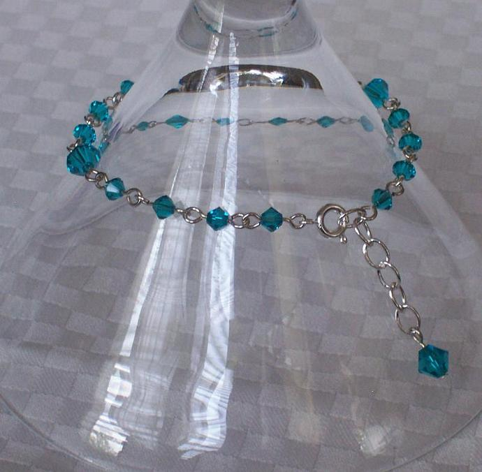 Blue Zircon Swarovski Crystal - Silver Plated Bracelet
