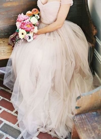 Champagne tulle long prom dress, tulle wedding dress