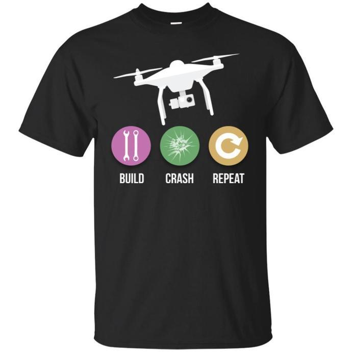 Funny Drone - Build Crash Repeat - Flying Quad Men T-shirt