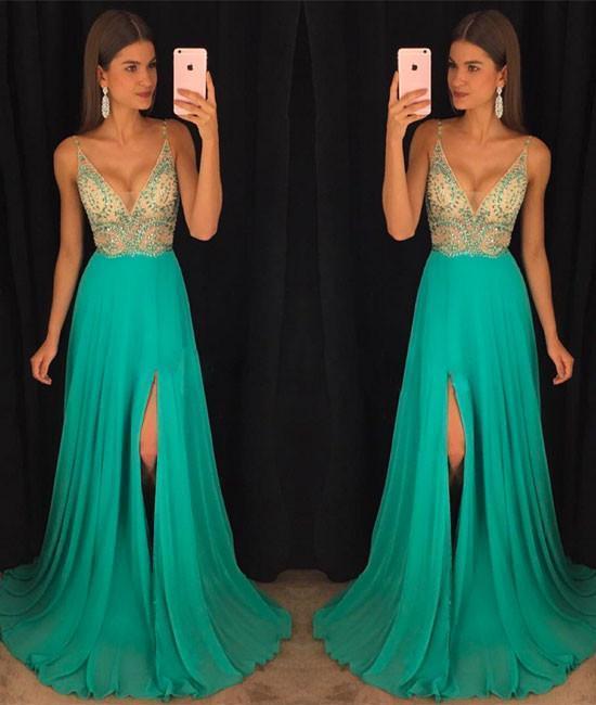 green v neck chiffon sequin beads long prom dress, green evening dress