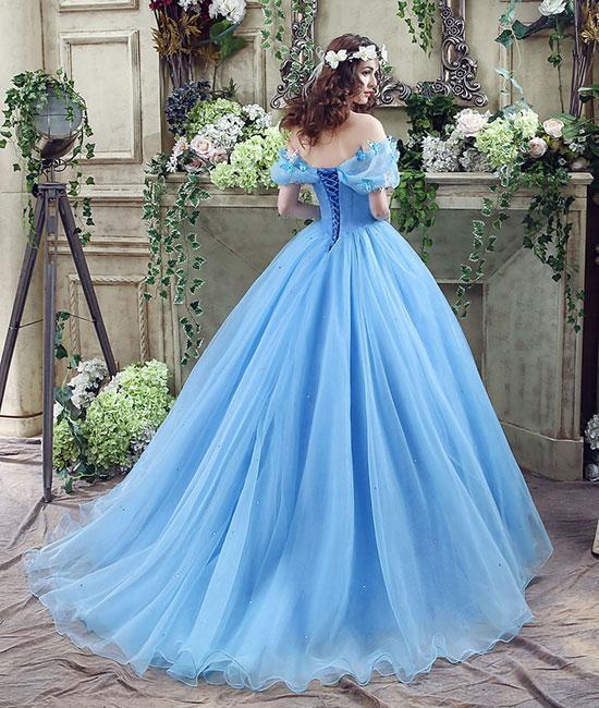 Blue tulle long prom dress, blue tulle long evening dress, sweet 16 dress