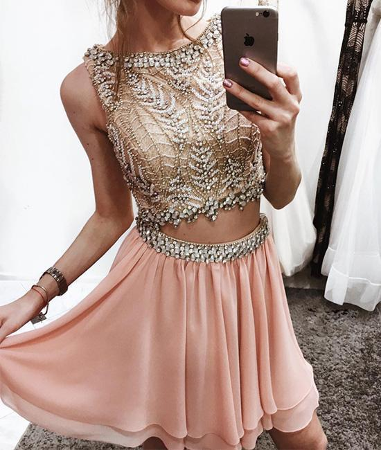 Unique pink two pieces chiffon short prom dress pink homecoming dress