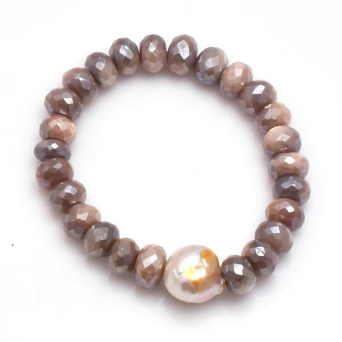 Charming !! Natural  Moonstone Coated Beads Fresh Water Pearl Semi Precious