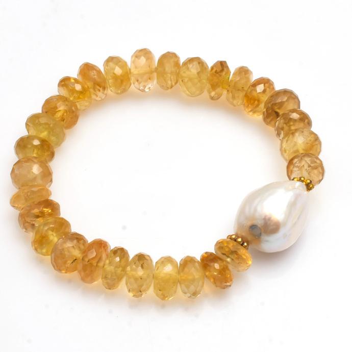Glamorous !! Natural Lemon Citrine  Fresh Water Pearl Semi Precious Gemstone