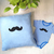 Baby Boy Gift Set. Mustache Appliqued Blue Stripes Infant Boy Onesie Romper.