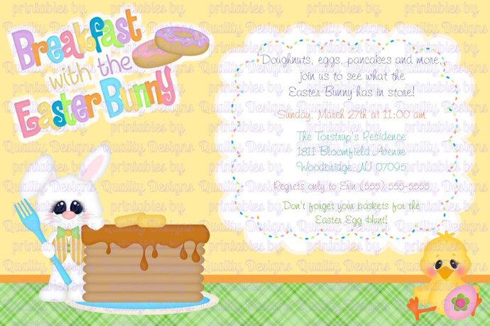 Easter Bunny, Breakfast, Pancakes, Printable Invitation, DIY