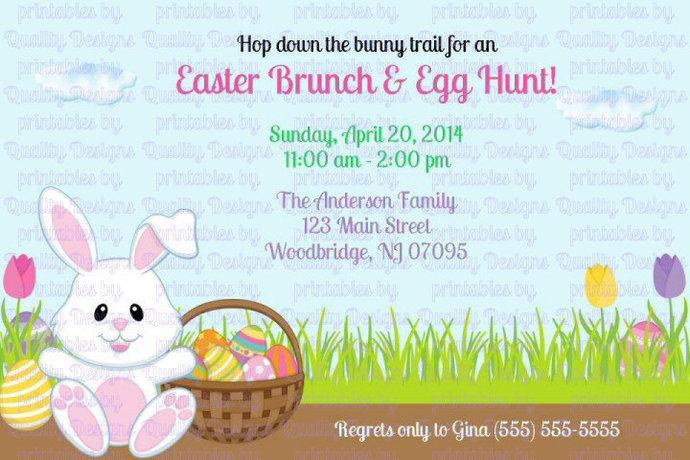 Easter Bunny, Basket, Egg Hunt, Printable Invitation, DIY