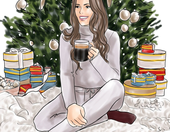 Watercolor fashion illustration - Christmas Girl 6 - Light Skin