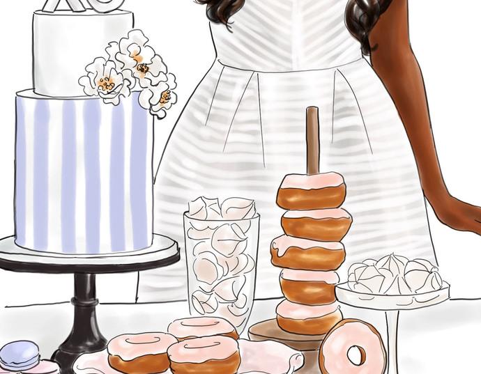Watercolor fashion illustration - Baker Girl - Dark Skin