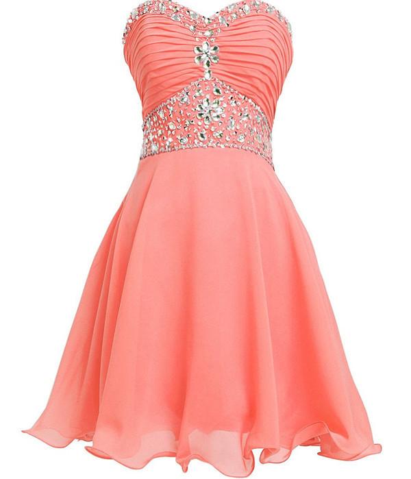 Cute Coral Chiffon Beaded Junior Prom Dress, Sweetheart Short Formal Dress