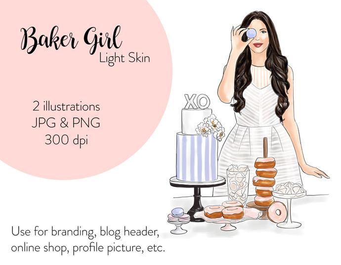Watercolor fashion illustration - Girl Boss 5 - Dark Skin