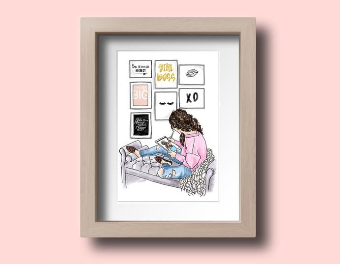 Watercolor fashion illustration - Girl Boss 5 - Light skin