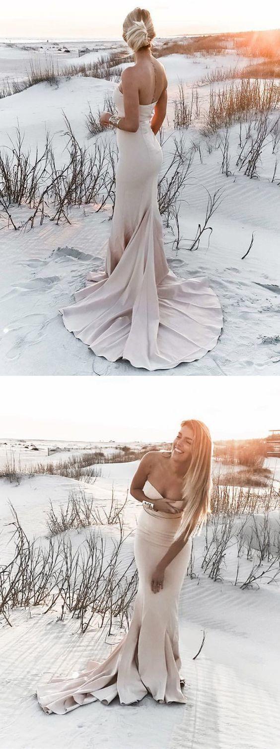 elegant strapless champagne formal evening dresses, chic wedding party dresses