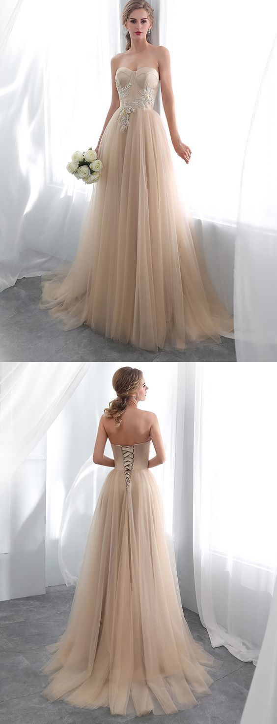Glamorous A Line Sweetheart Champagne Long Prom Dress with Appliques