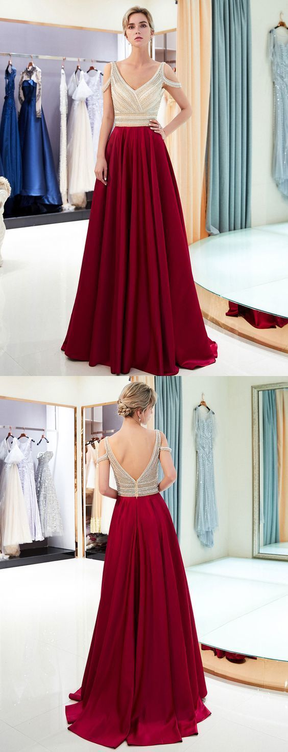 GLAMOROUS A LINE V NECK SLEEVELESS BURGUNDY LONG PROM EVENING DRESS WITH BEADING