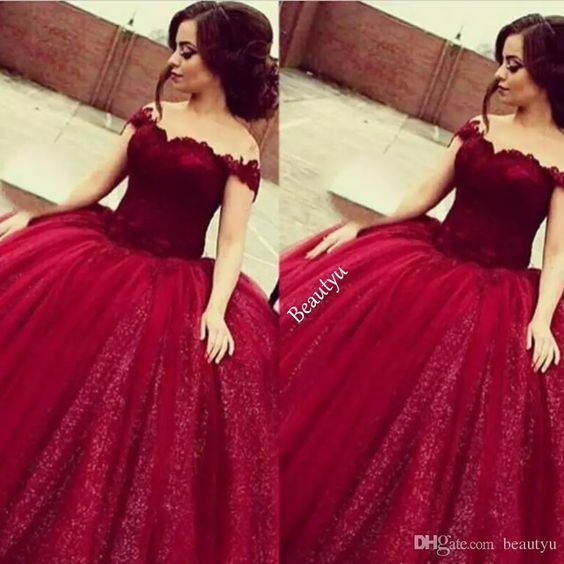 quinceanera dresses,burgundy wedding dress,maroon ball gowns,off-the-shoulder