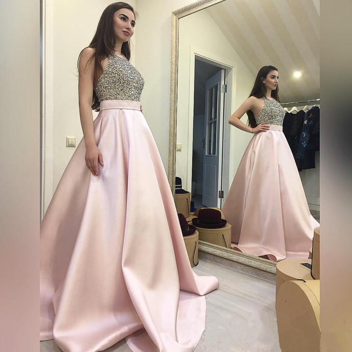 Beaded Prom Dress,Halter Prom Gowns,Long Evening Dress,Ball Gowns Prom