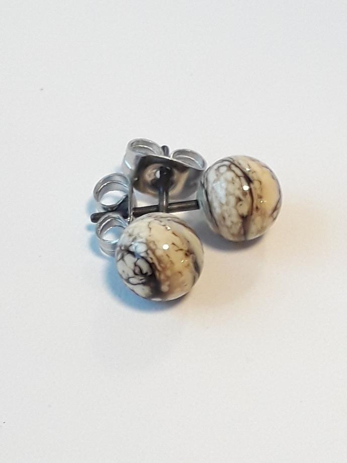 Small Ball ear stud, organic stone grey