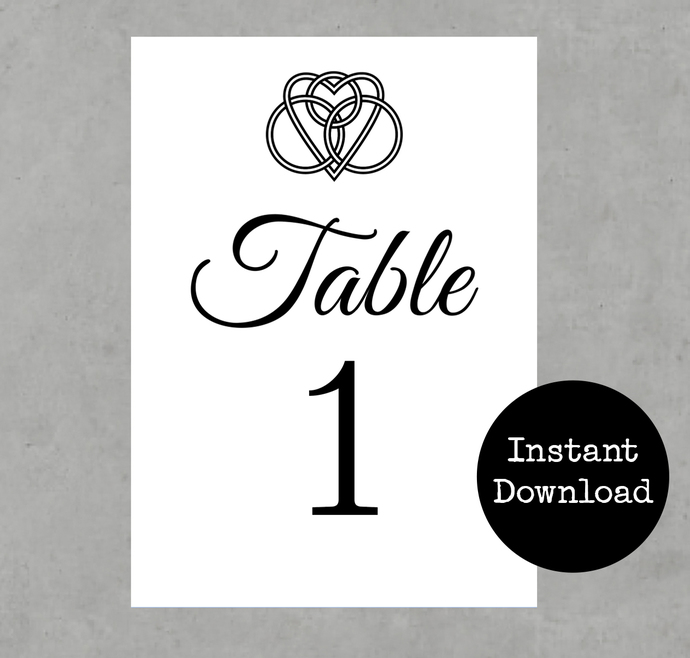 Celtic Knot Table Numbers for a Wedding or Event