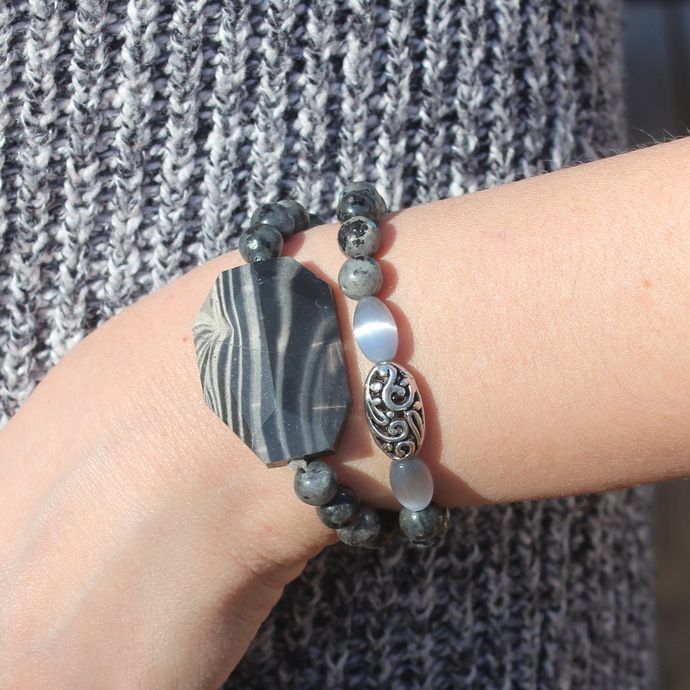 Layer Black Beaded Bracelet Stack Larbordoite & Zebra Jasper
