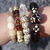 Brown & Beige Stack Bracelets set of 4 Statement Natural Stones Moonstones