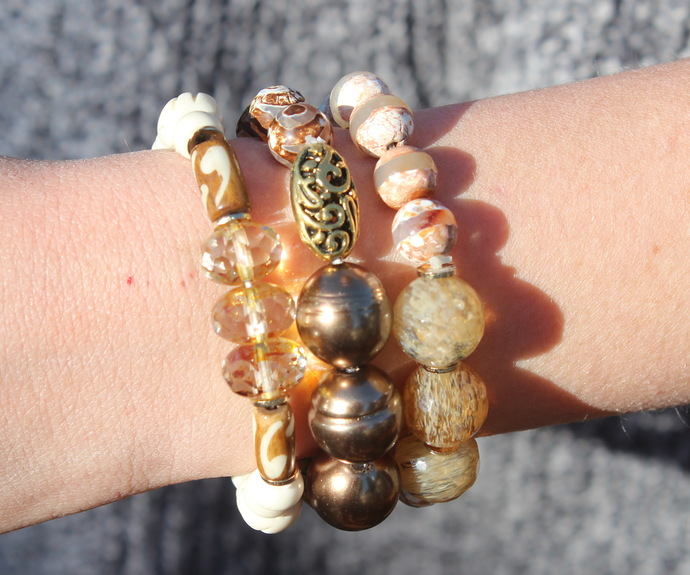 Set of 3 Neutral Stacking Bracelets with rutilated quartz czech crystals Pearls