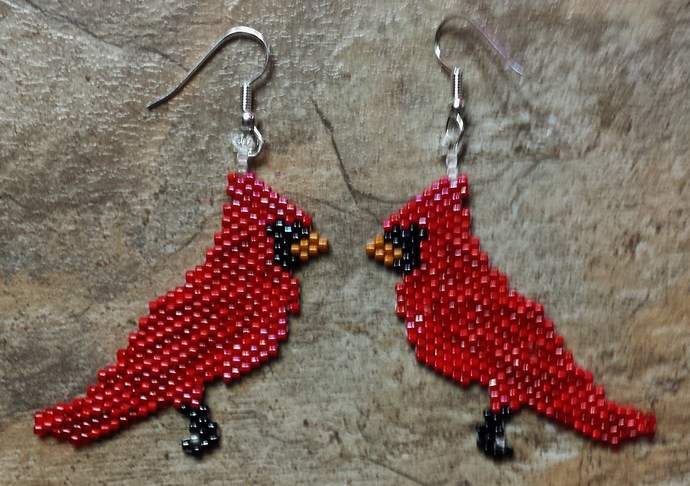 Cardinal Earrings Hand Made Seed Beaded Bead Work