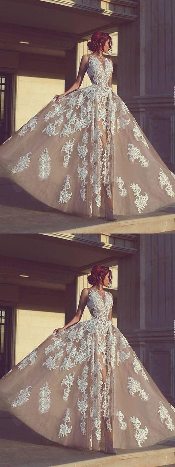 Prom Dress A-line Bateau Long Appliques Prom Dress/Evening Dress