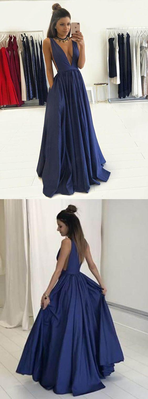 2a0daed5bf51 Dark Blue Long Prom Dress   Saddha