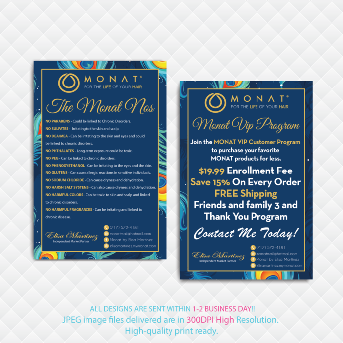 Monat NOs Cards, Monat VIP Program, Buyer Cards, Monat Business VIP Program