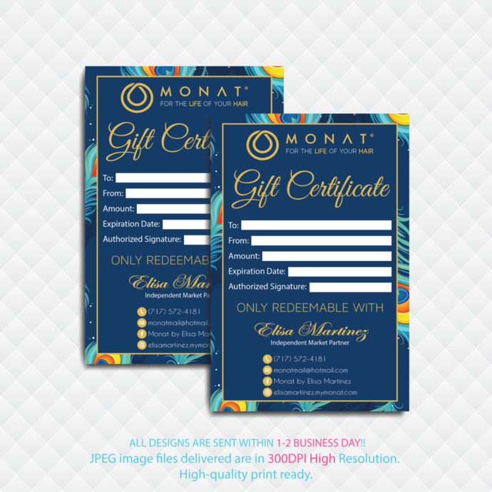 Personalized Gift Certificate Cards, MONAT Gift Cards, Monat Global Cards, Monat