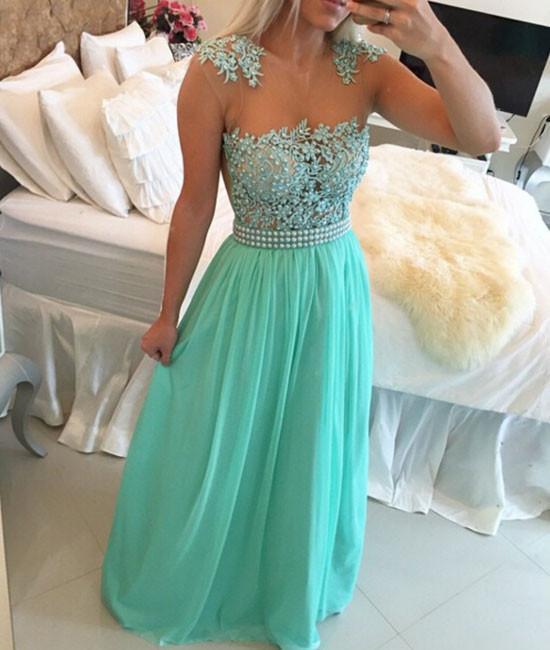 A-line Round Neck Chiffon Lace long Prom Dress, Evening Dress