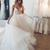 Custom made v neck tulle sequin white long prom dress