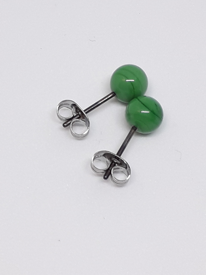Small ball ear studs in malakit green