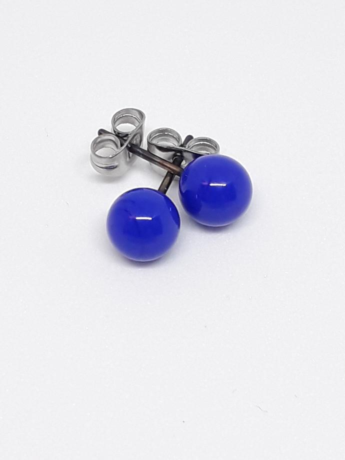 Small Ball Ear Stud, Cobalt Blue