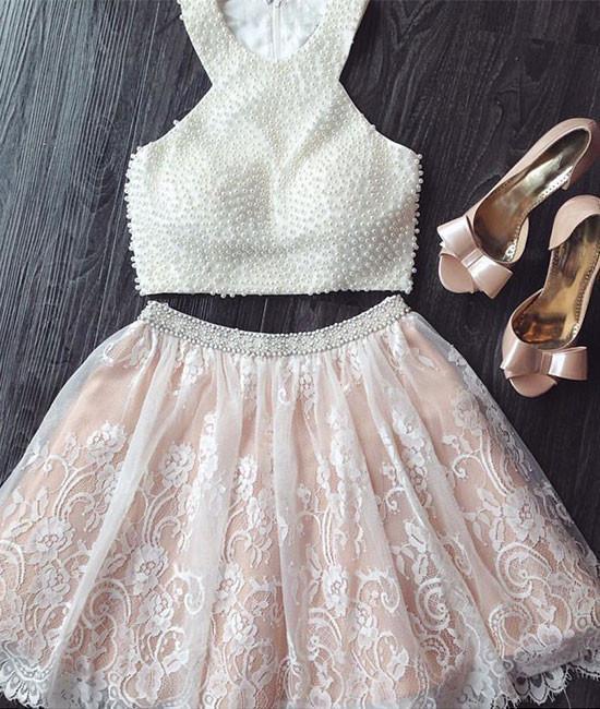 White A-line lace tow pieces short prom dress. cute homecoming dress
