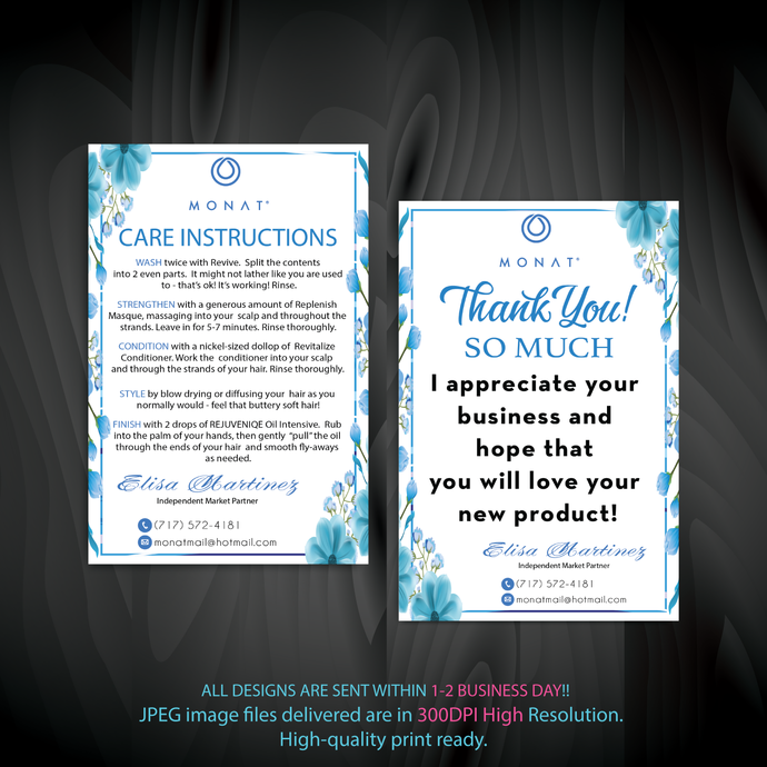 Monat Care Instruction Card, Monat Thank You Card, Monat Cards, Custom Monat