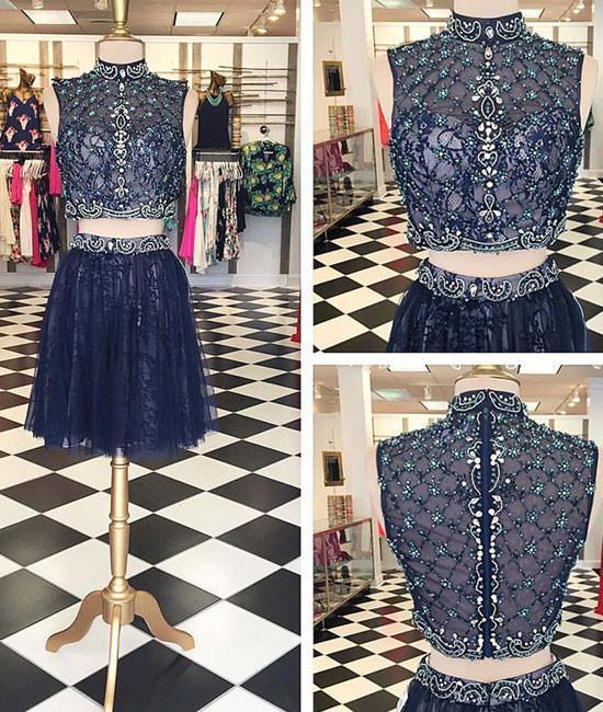 Dark blue high neck two pieces lace short prom dress, homecoming dress