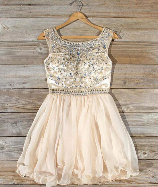 Cute round neck bead apricot short prom dress, homecoming dress