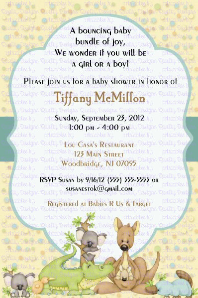 Baby Shower Printable Invitation, Kangaroo, Koala Bear, Down Under, DIY